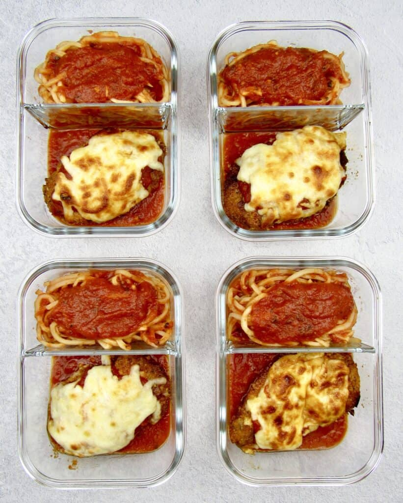 chicken parm and noodles in 4 glass food storage containers