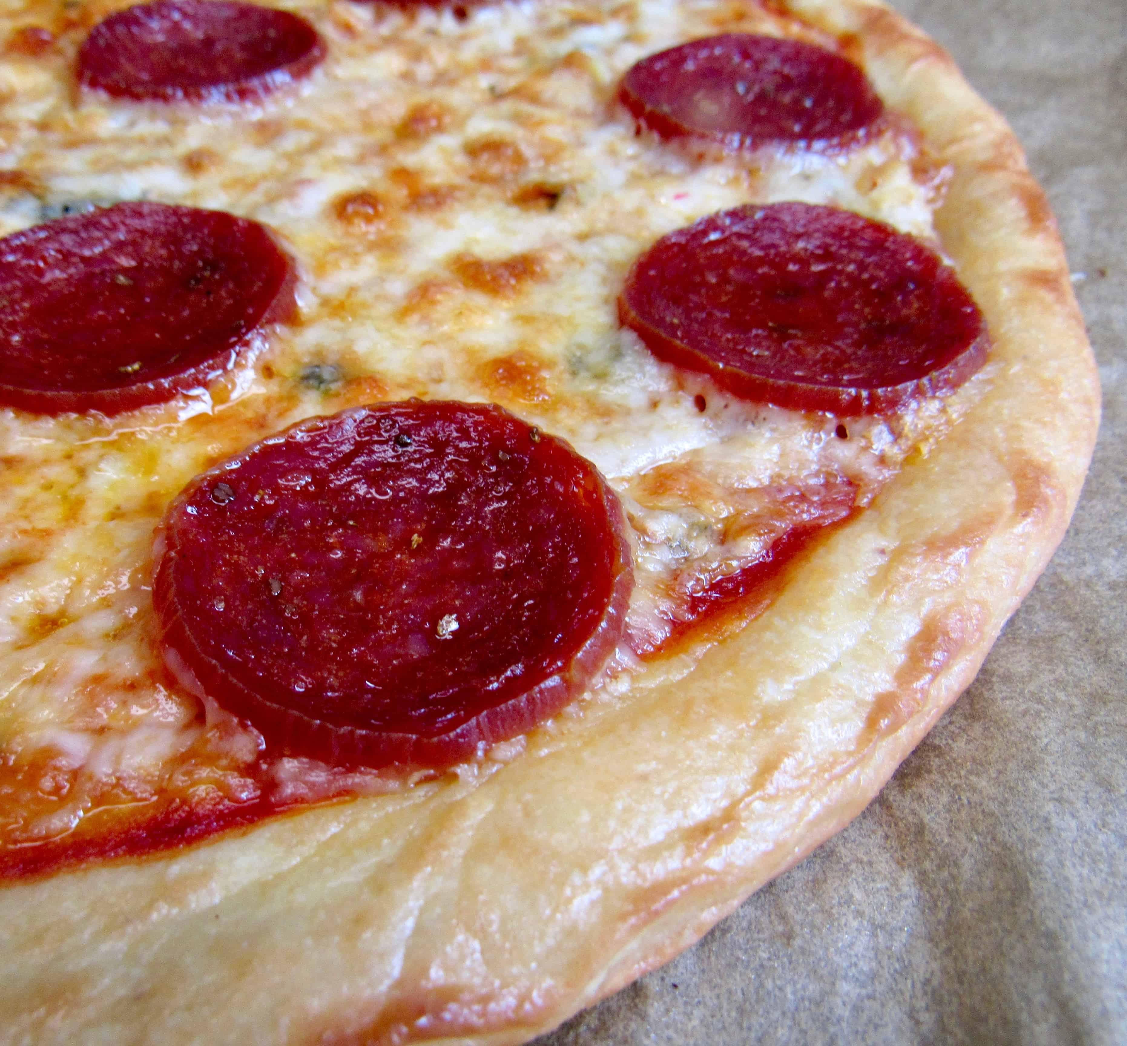 pepperoni fathead pizza closeup of crust