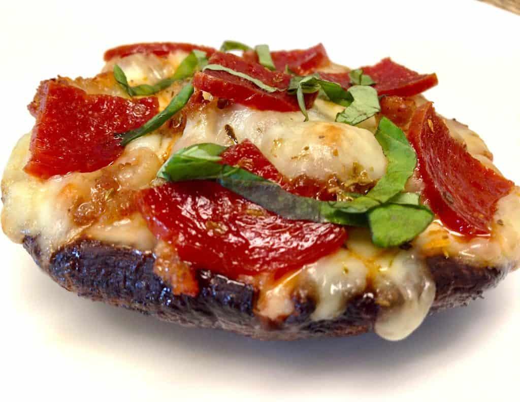 Portobello Mushroom Pizza on white plate