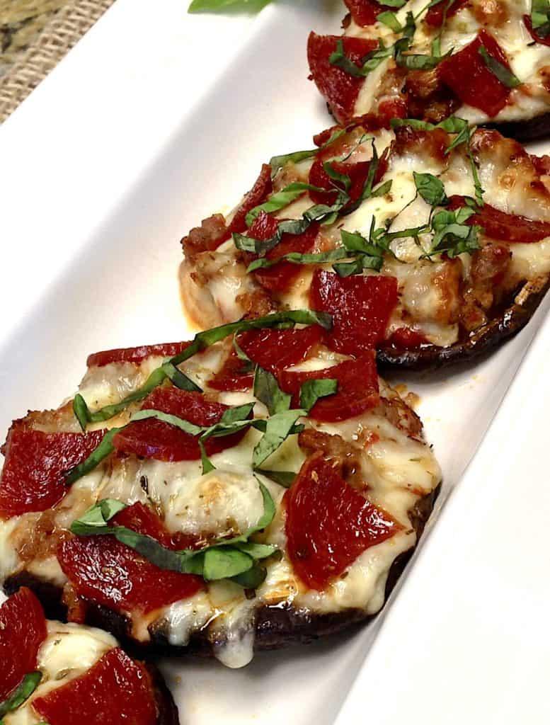 Portobello Mushroom Pizza on white platter