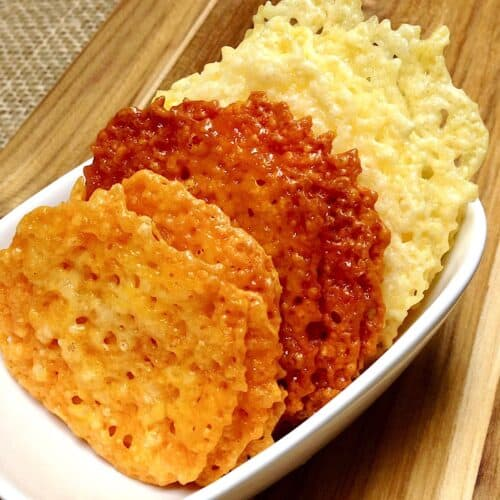 white dish with cheese crisp crackers