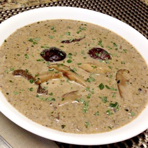 bowl of wild mushroom soup