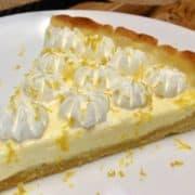 Keto Lemon Mascarpone Tart slice on white plate