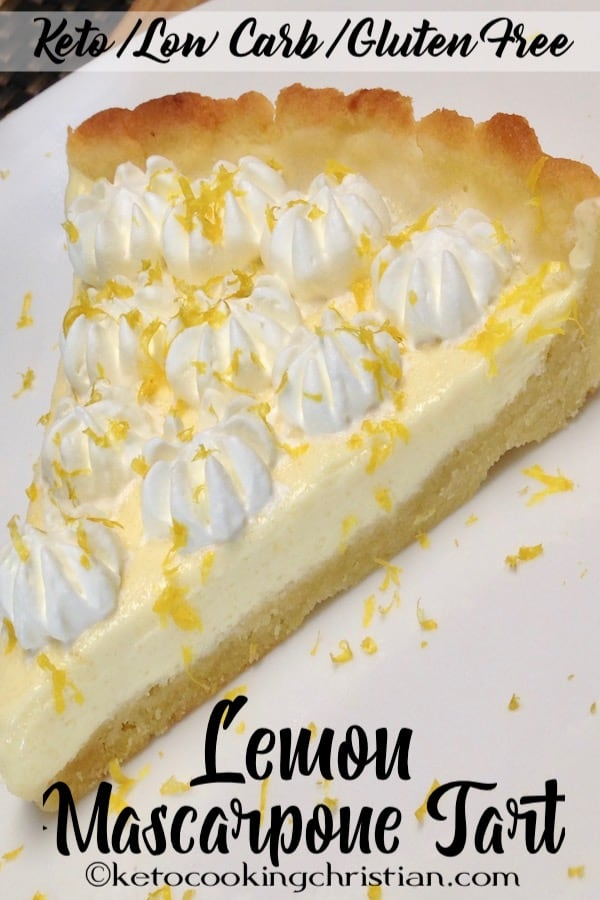 a slice of mascarpone tart with whip cream on top
