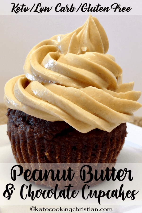 Chocolate Cupcakes with Peanut Butter Frosting Keto, Low Carb & Gluten Free
