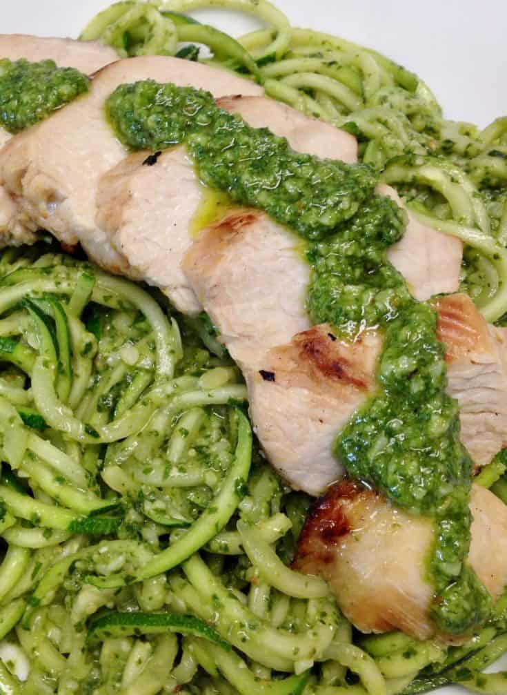 Grilled Lemon Chicken Pesto over Zoodles - Keto and Low Carb