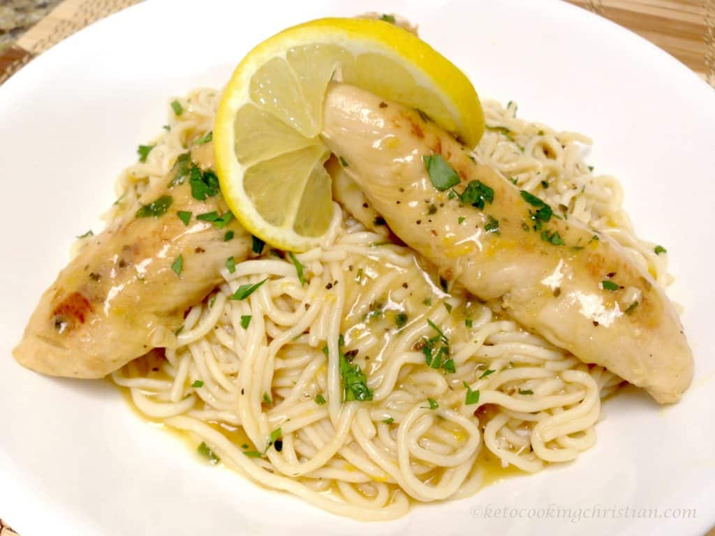 lemon chicken tenders shirataki noodles keto and low carb
