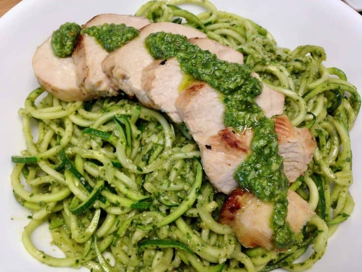 Grilled Lemon Chicken Pesto over Zoodles