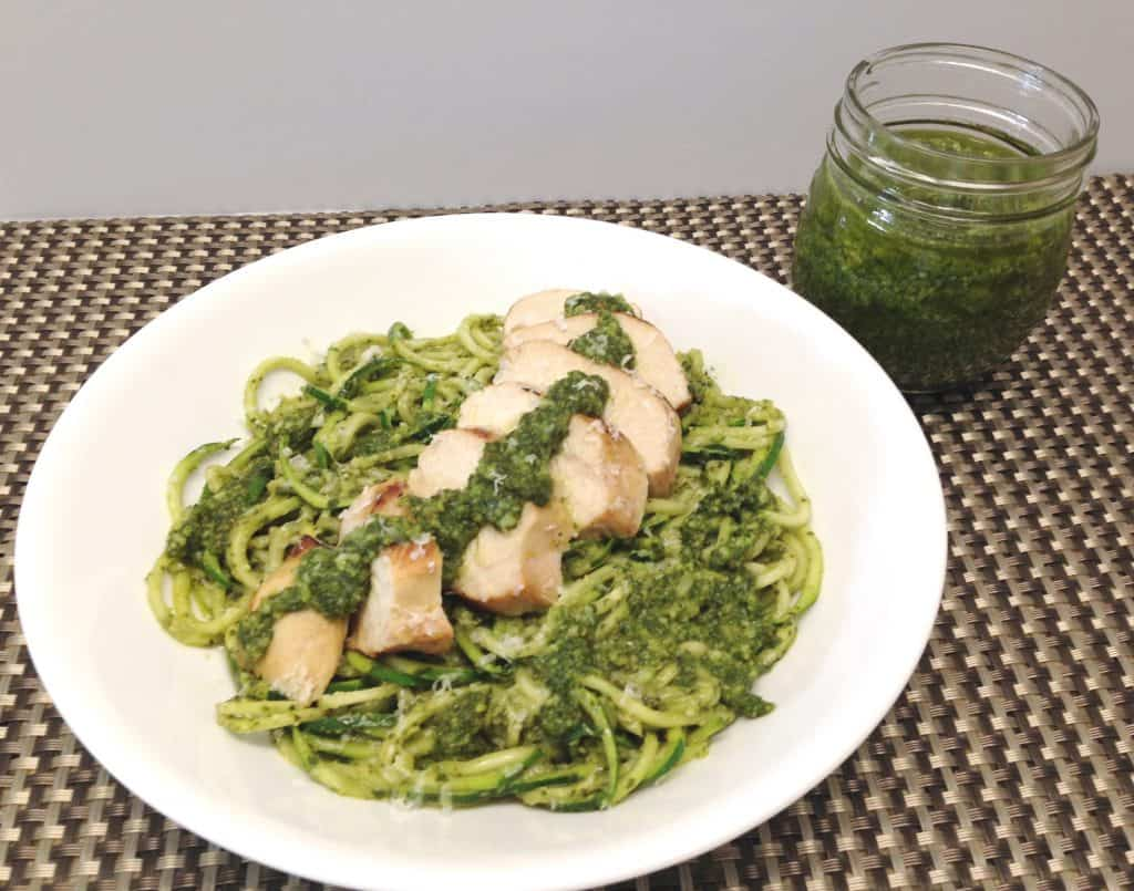 grilled chicken pesto over zoodles keto and low carb