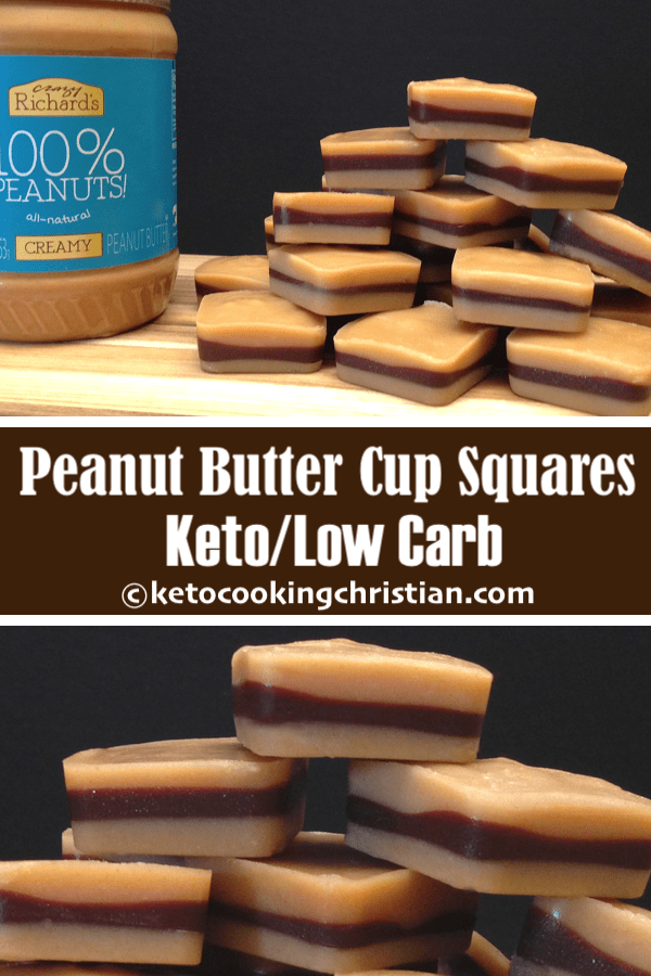 Inside Out Peanut Butter Cup Squares - Keto and Low Carb
