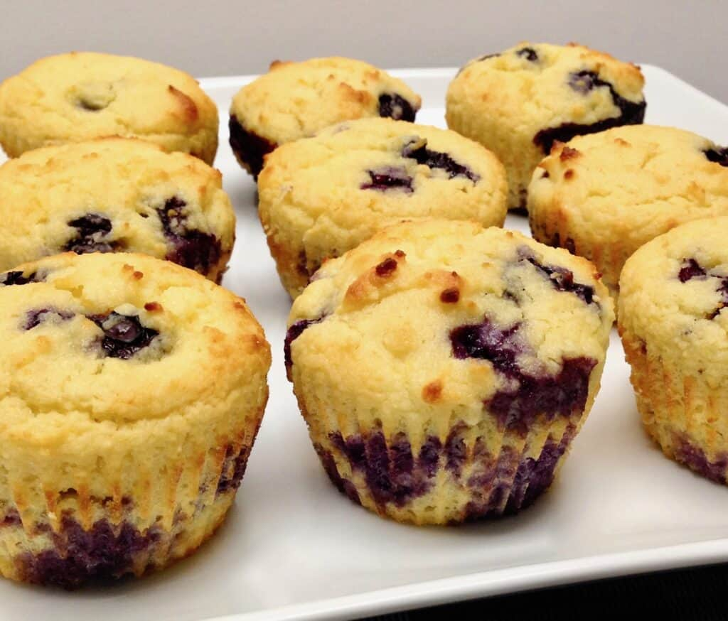 side view of blueberry muffins on plate