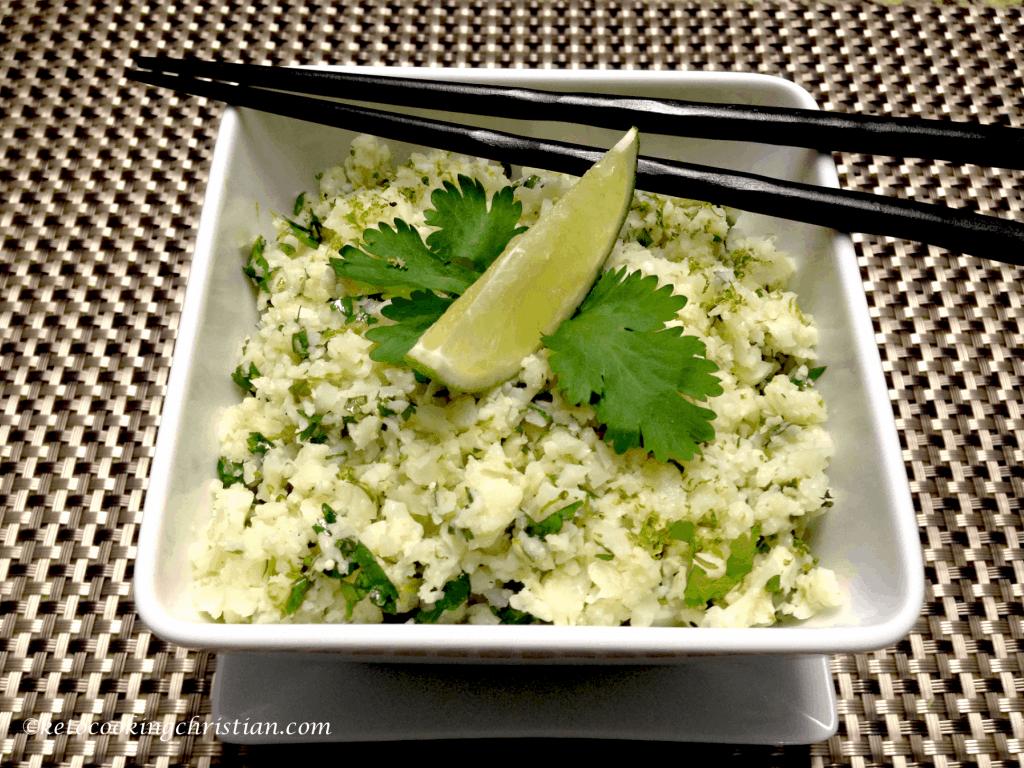 lime cilantro cauliflower rice keto and low carb
