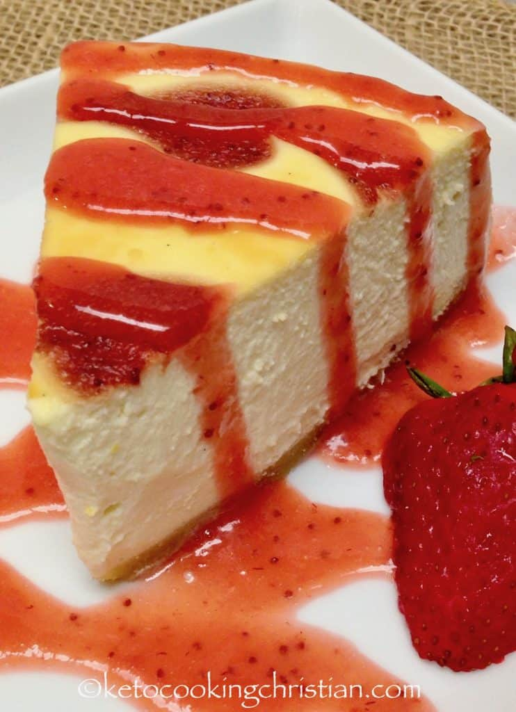 Cheesecake with Homemade Strawberry Sauce - Keto, Low Carb & Gluten Free
