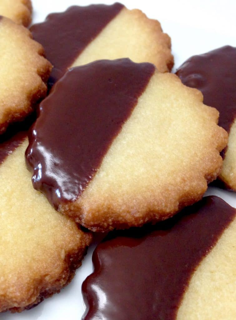 Close Up of Chocolate Dipped Shortbread Cookies - Keto, Low Carb & Gluten Free