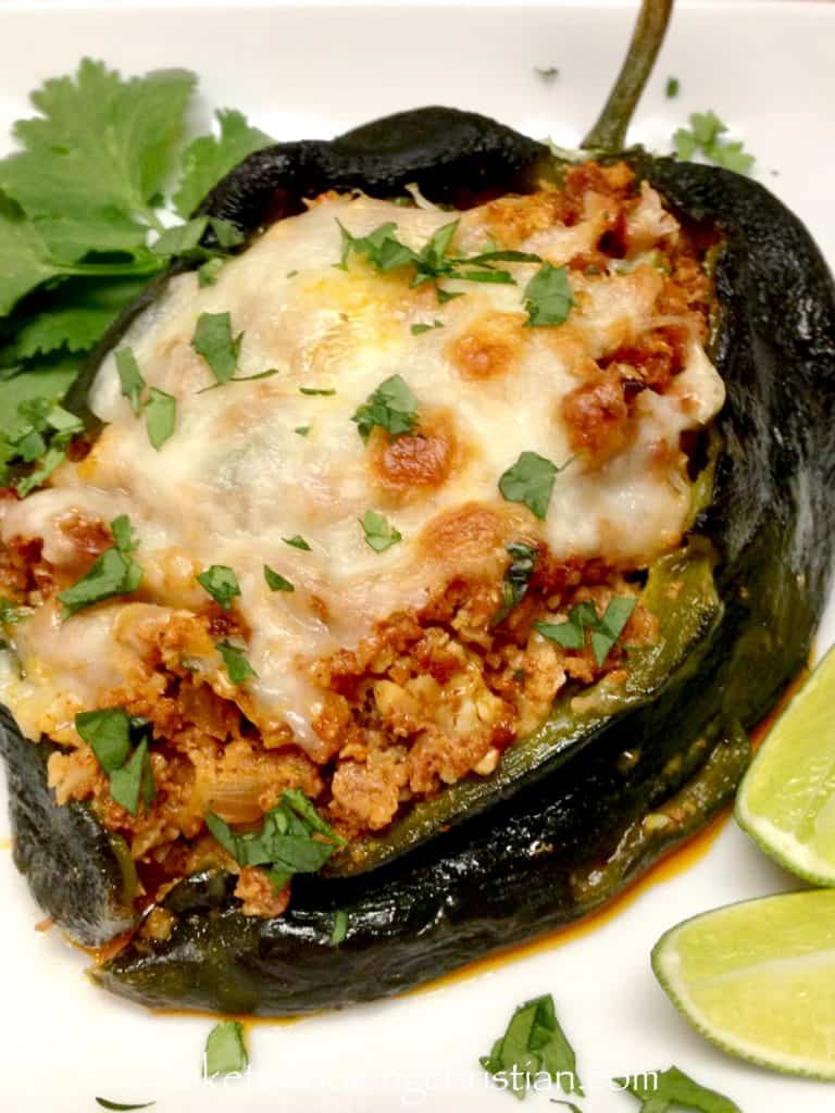 Chorizo & Cauliflower Rice Stuffed Poblano Peppers - Keto and Low Carb