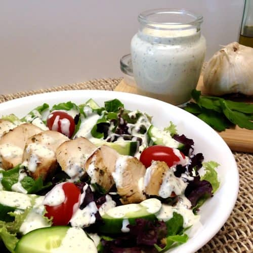 Creamy Garlic Italian Dressing over chicken salad