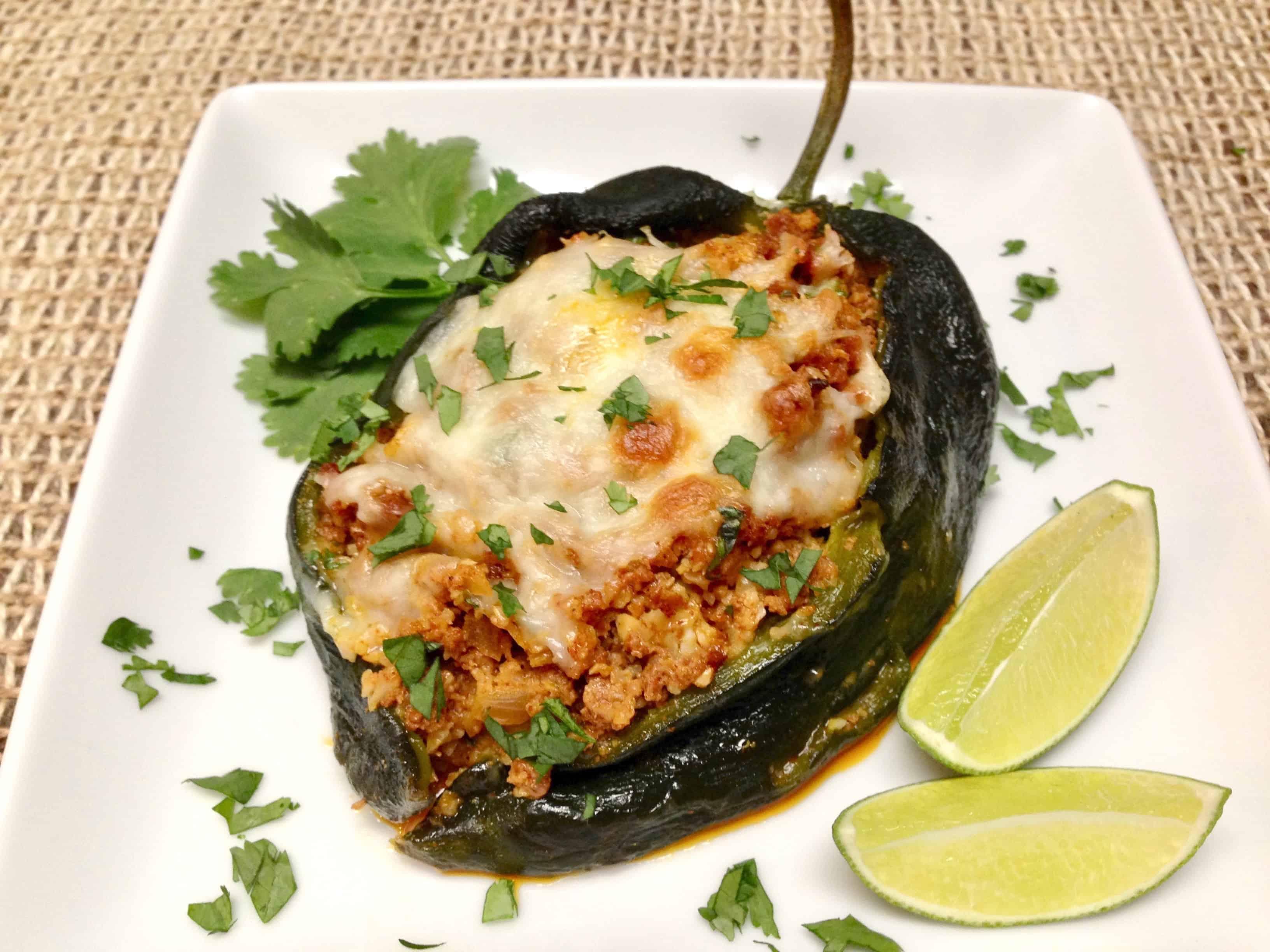 Chorizo & Cauliflower Rice Stuffed Poblano Peppers - Keto and Low Carb