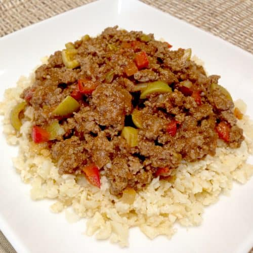 Picadillo over Cauliflower Rice on a plate