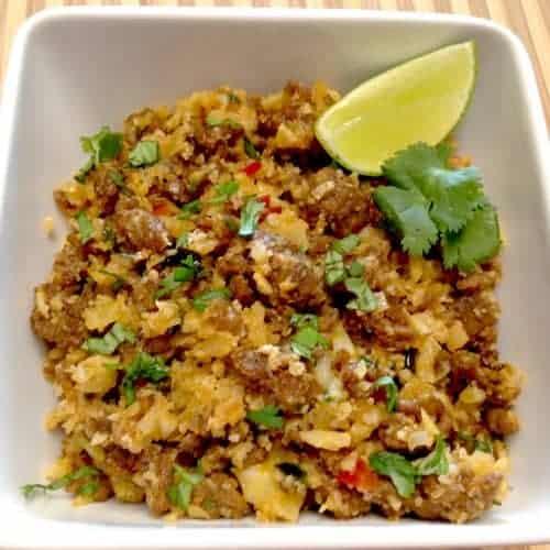 chorizo pepper cauliflower rice keto low carb