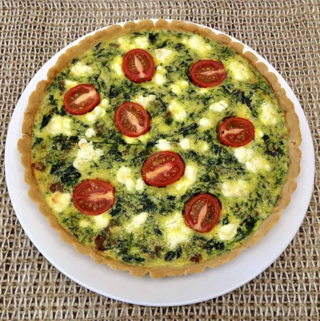 overhead view of spinach quiche