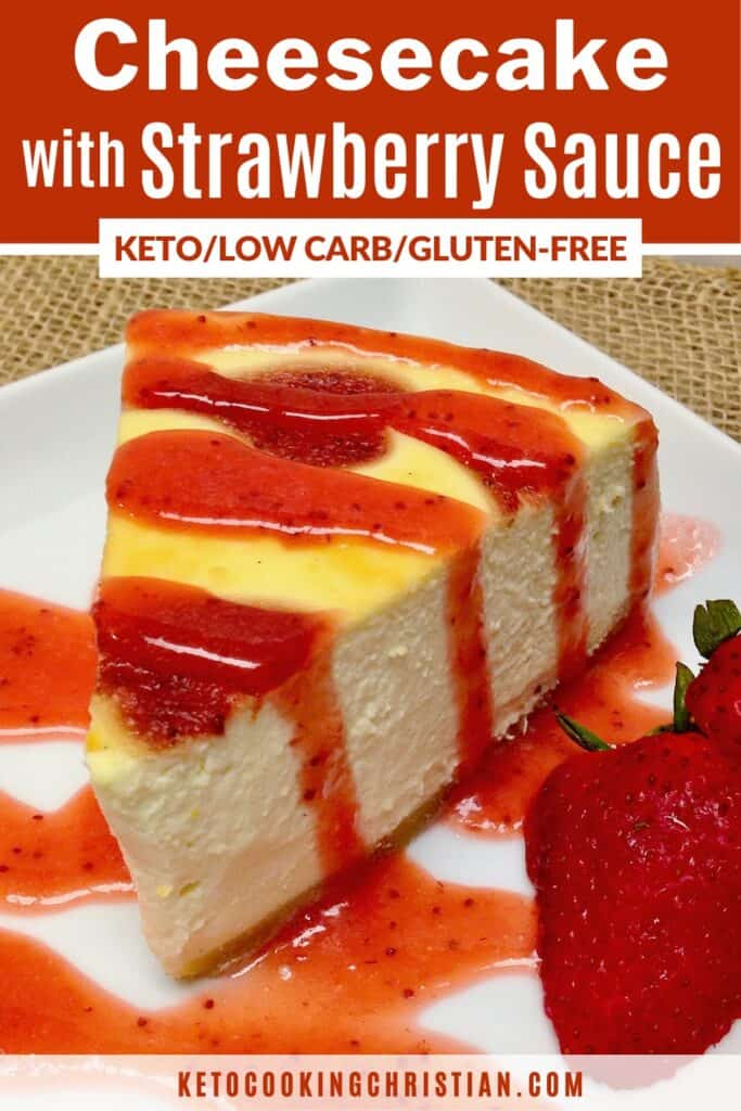 PIN cheesecake with strawberry sauce