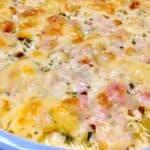 closeup of chicken cordon bleu casserole