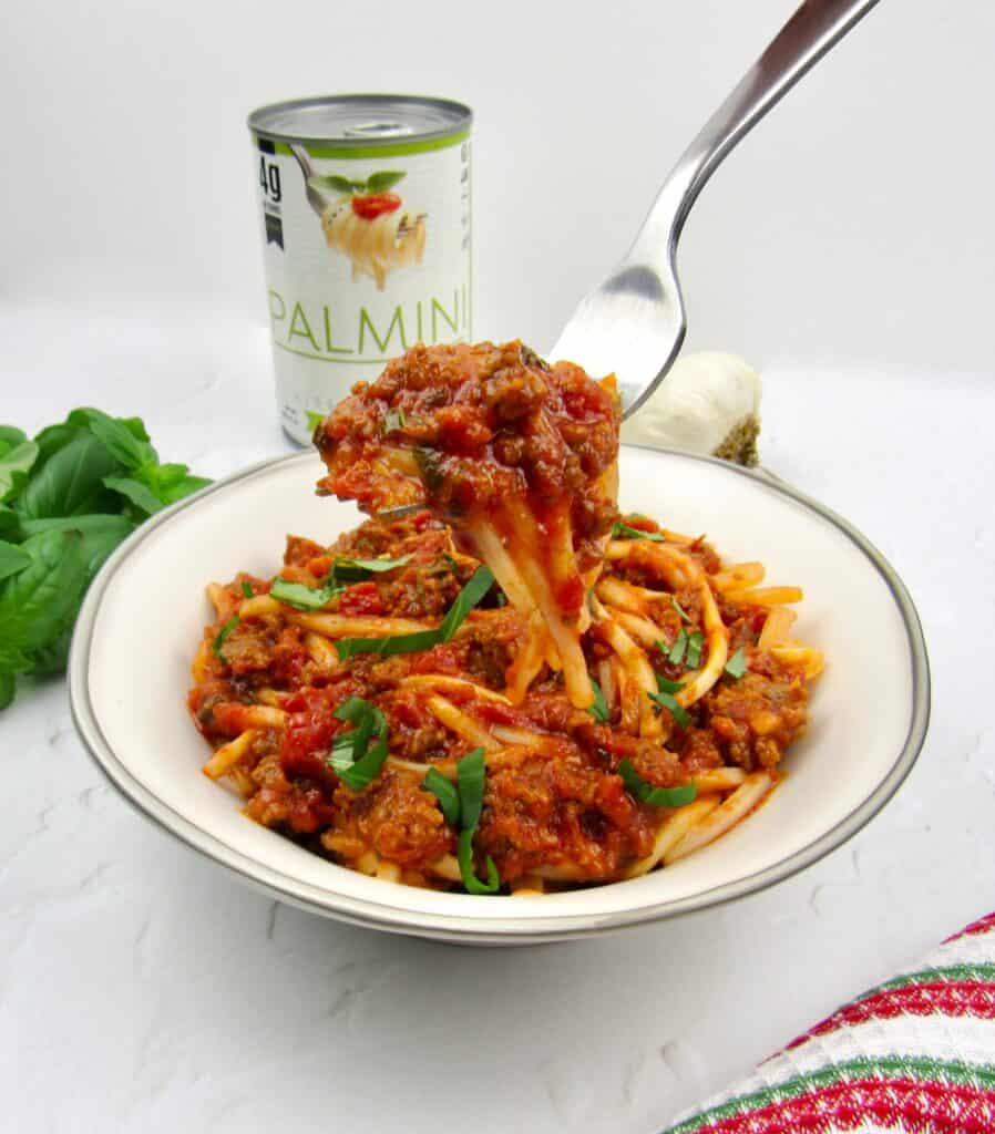 Palmini noodles with Italian meat sauce