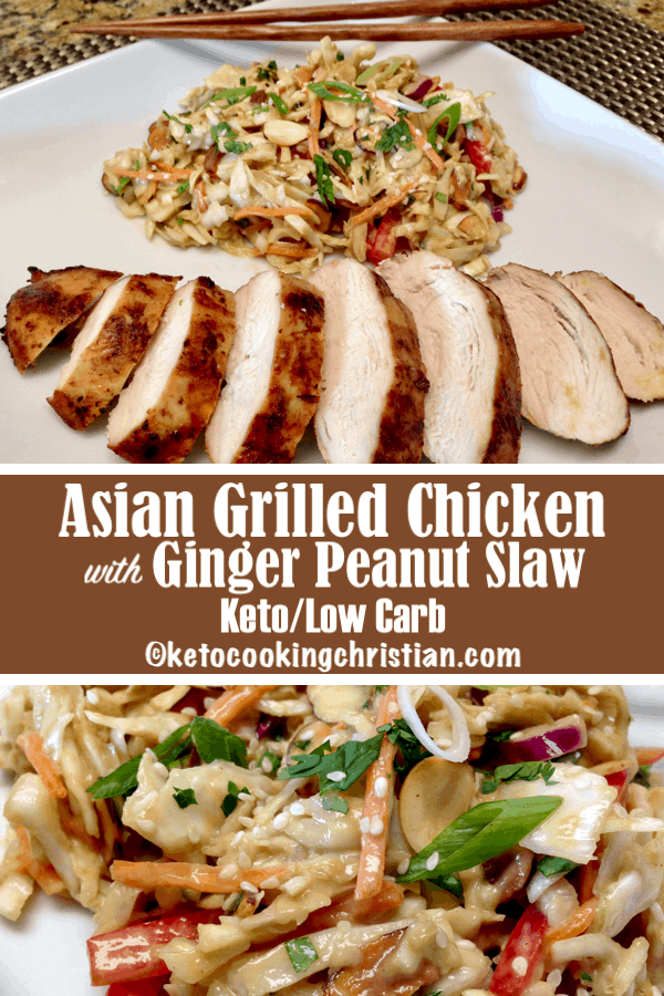 Asian Grilled Chicken with Peanut Ginger Slaw - Keto and Low Carb