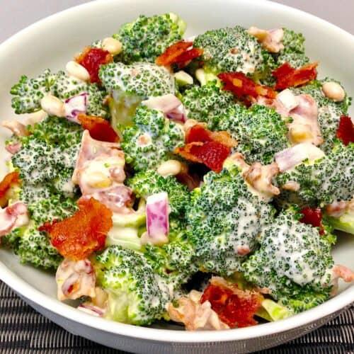 closeup of broccoli salad with bacon