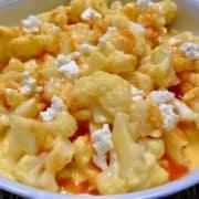 "Buffalo Cauliflower ""Mac"" and Cheese closeup"