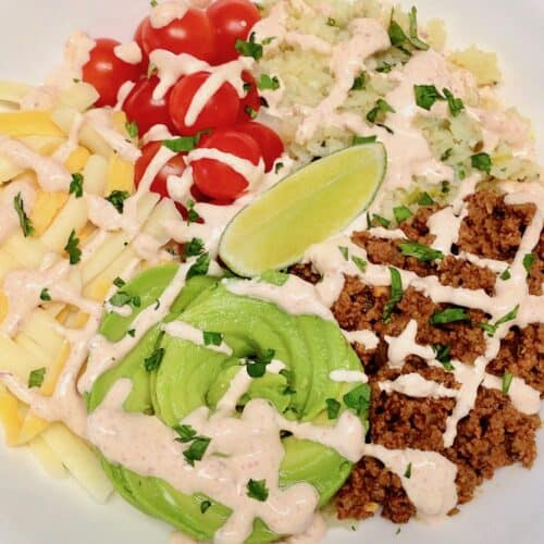 overhead closeup view of burrito bowl
