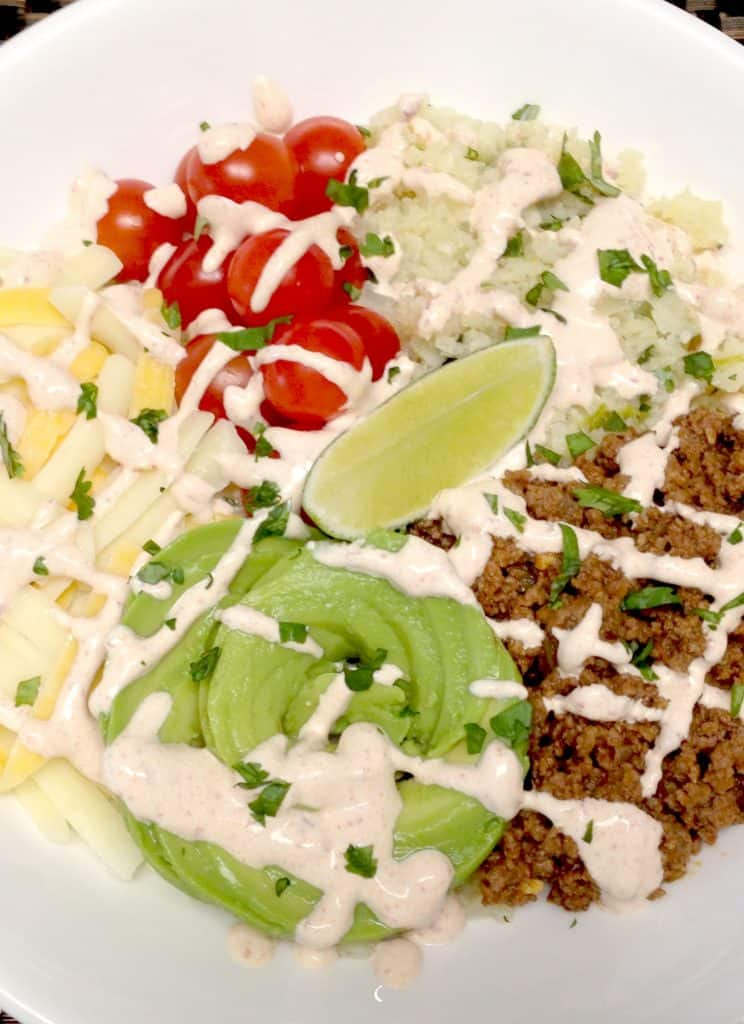 Keto and Low Carb Burrito Bowl with Lime Cilantro Cauliflower Rice