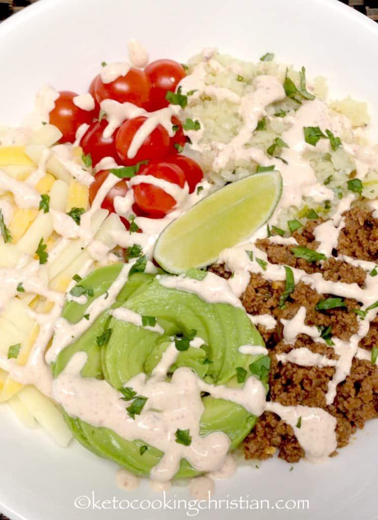 Burrito Bowl with Lime Cilantro Cauliflower Rice - Keto and Low Carb