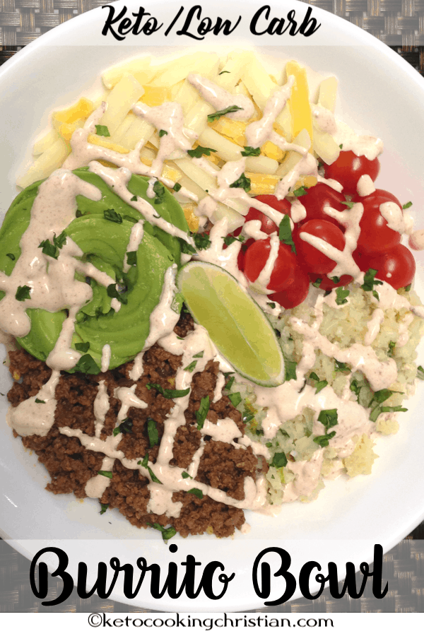 Burrito Bowl with Lime Cilantro Cauliflower Rice - Keto and Low Carb