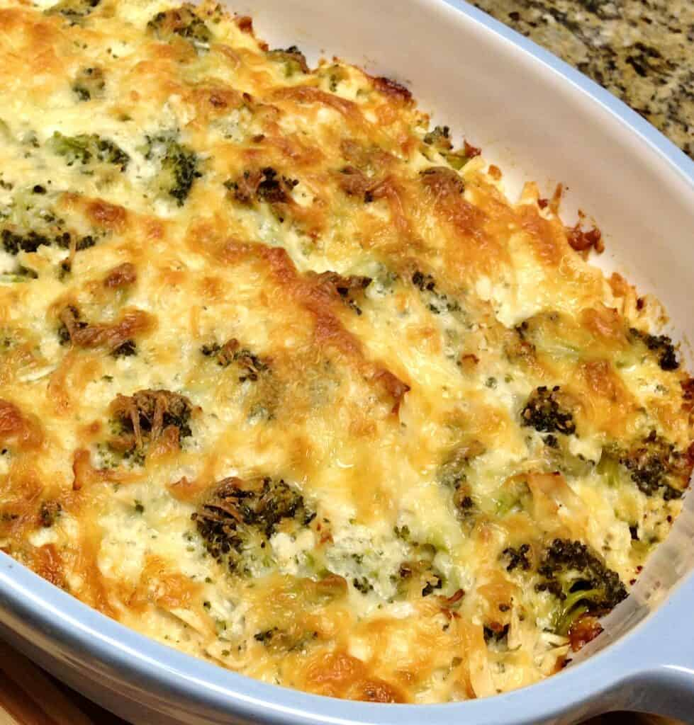 overhead closeup of chicken broccoli casserole