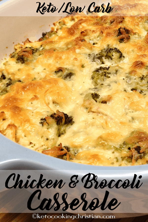 chicken and broccoli baked with cheese in a casserole dish