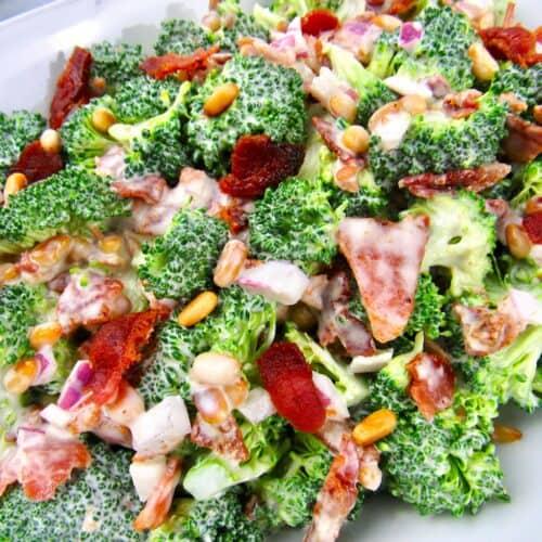 closeup of broccoli salad