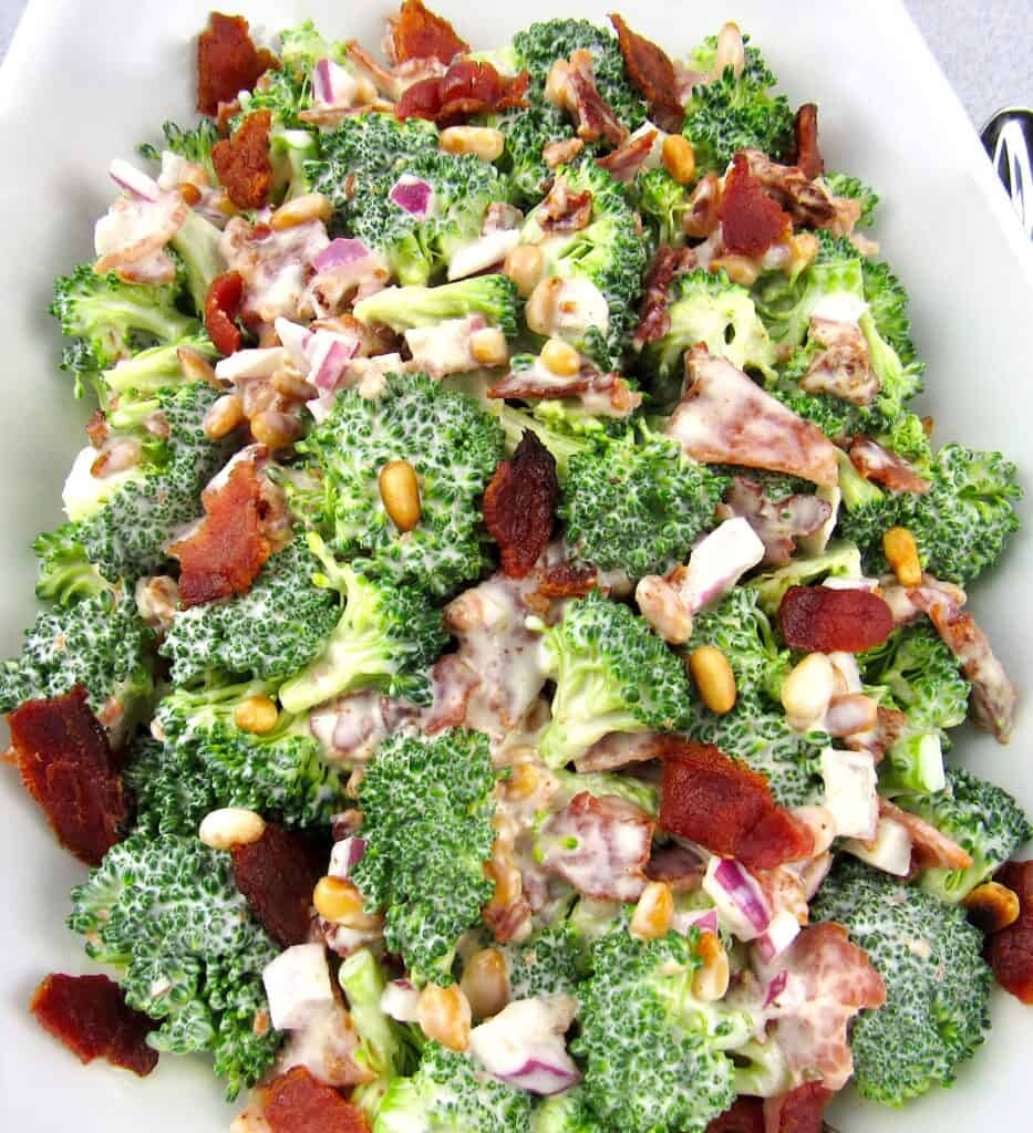 overhead closeup of broccoli salad