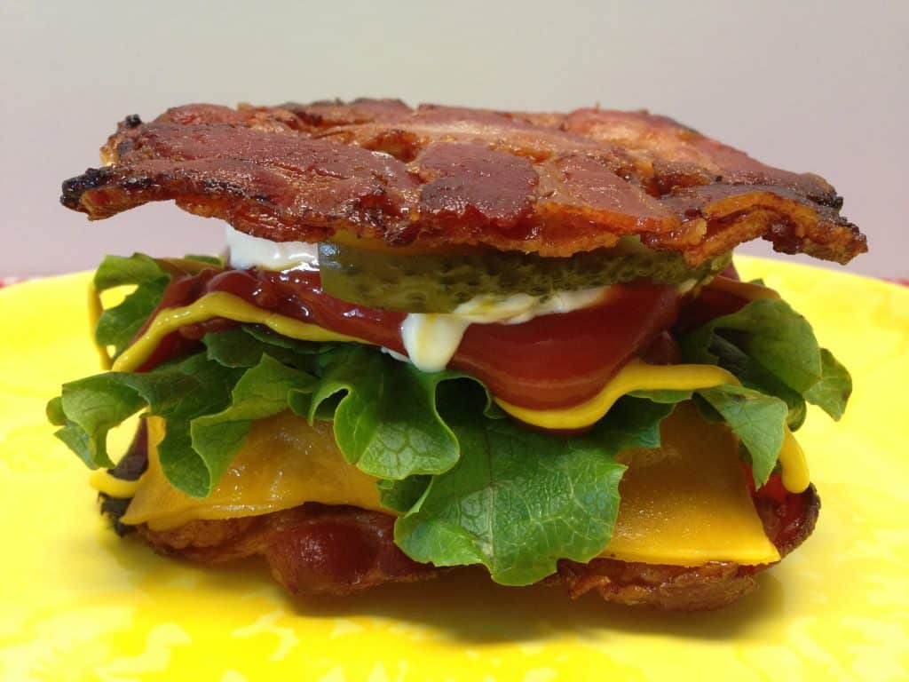 Cheeseburger in a Bacon Weave Bun - Keto and Low Carb