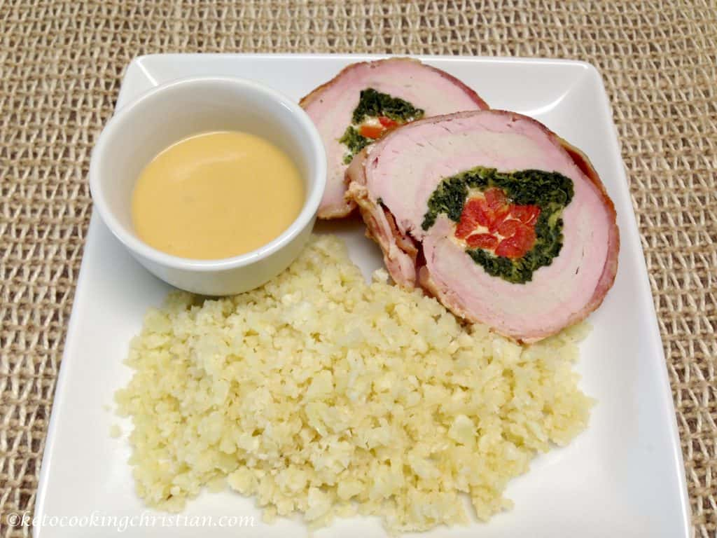 stuffed pork loin gravy cauliflower rice keto low carb
