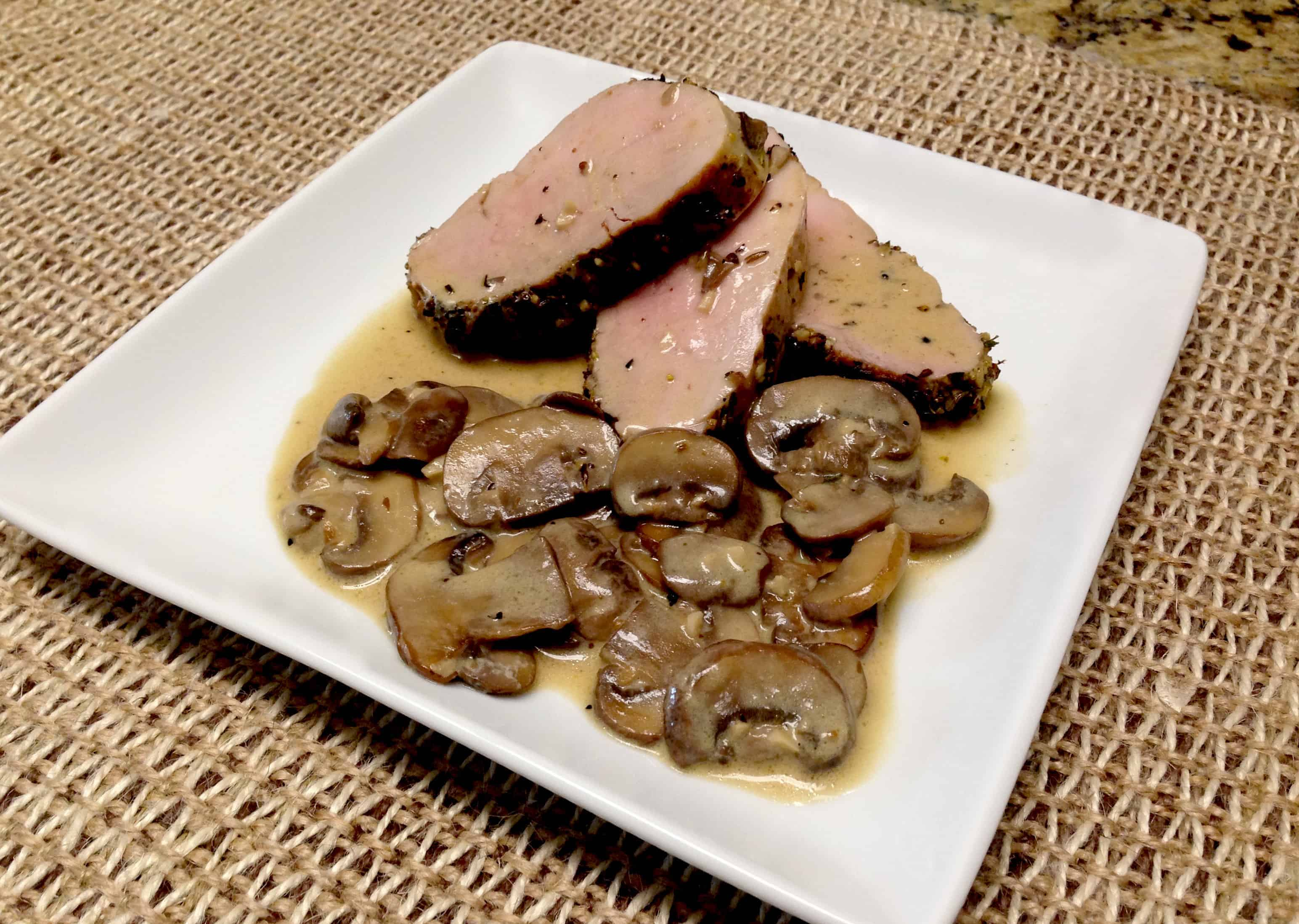 Herb Crusted Pork Tenderloin with Mushroom Gravy - Keto and Low Carb