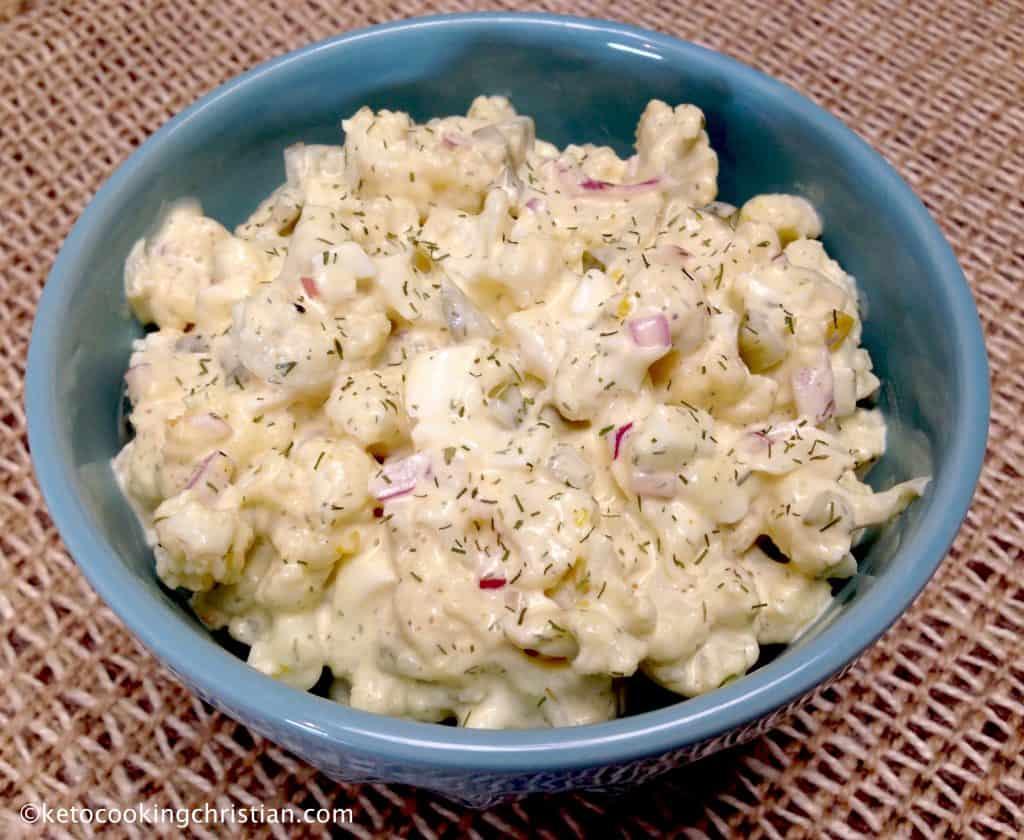 "Cauliflower ""Potato"" Salad - Keto and Low Carb"