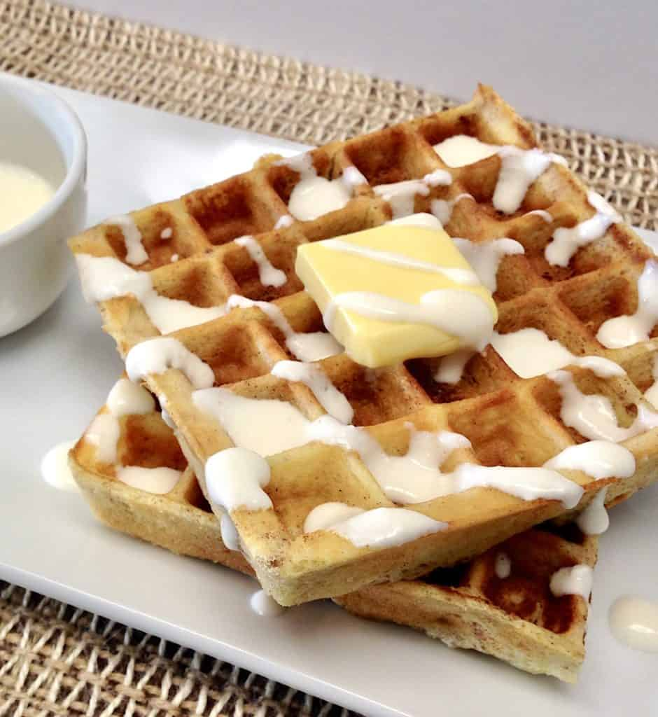 keto cinnamon roll waffles with butter on top