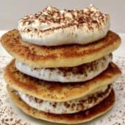 keto tiramisu pancakes on white plate