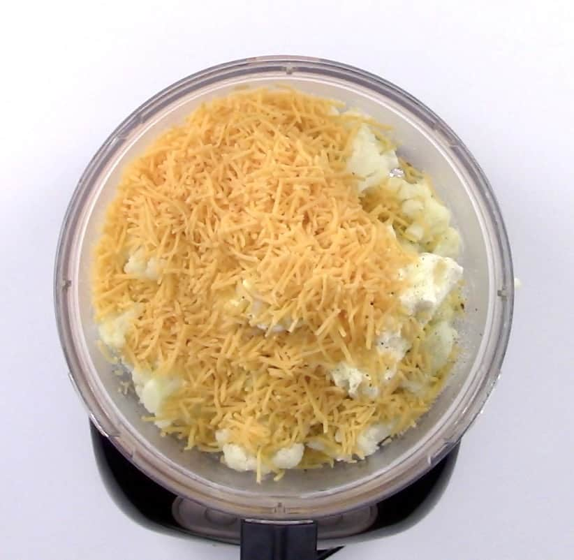 cauliflower and cheese in food processor