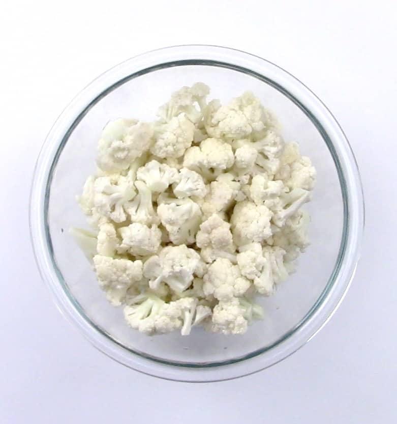 glass bowl with cauliflower florets