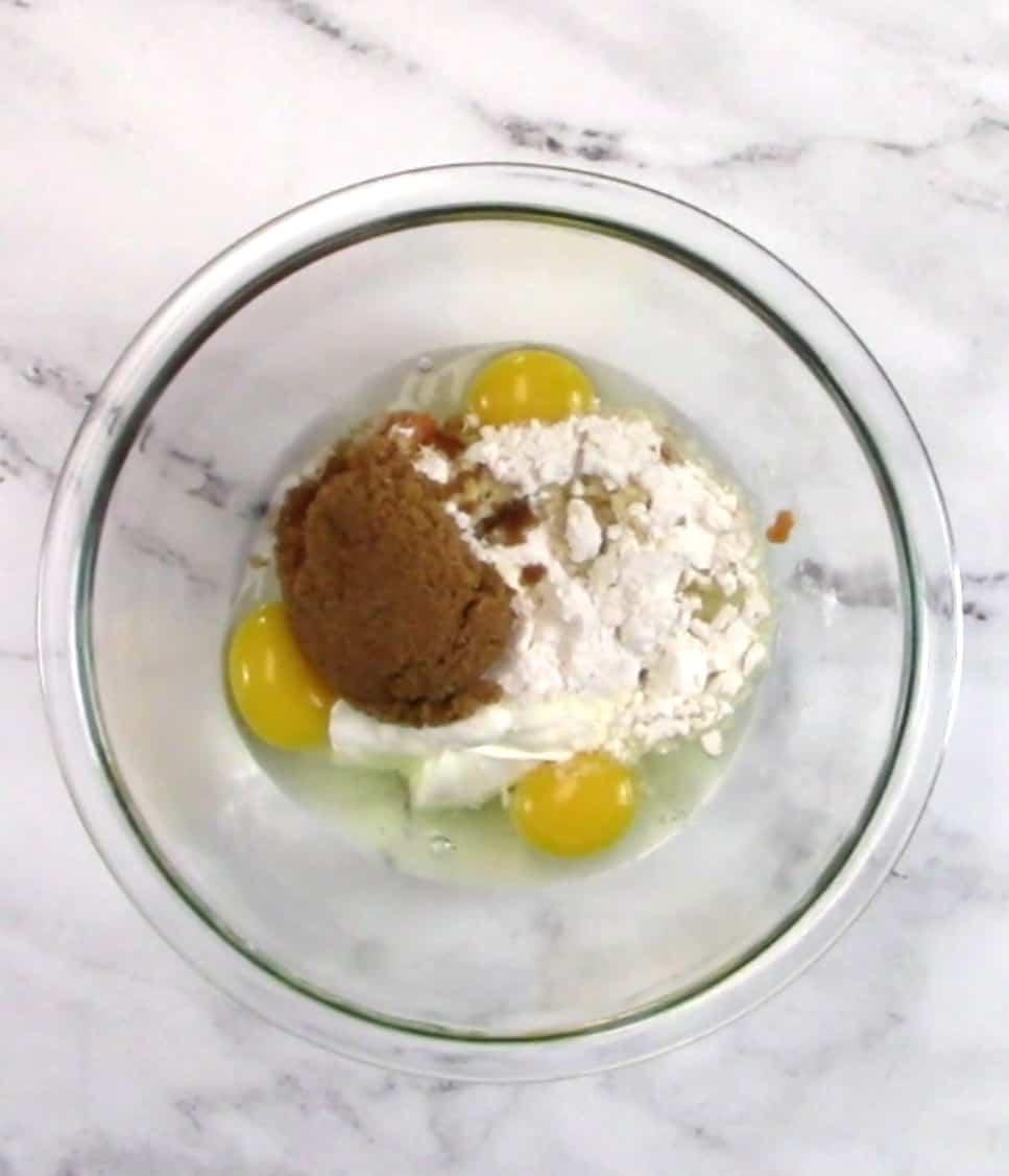 pumpkin cupcakes wet ingredients in bowl