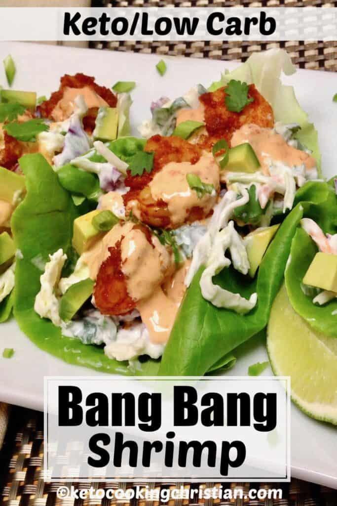 PIN Keto Spicy Shrimp Lettuce Wraps with Bang Bang Sauce