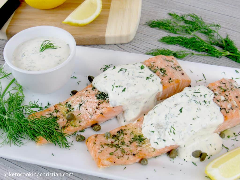 Baked Salmon with Creamy Cill Sauce - Keto and Low Carb