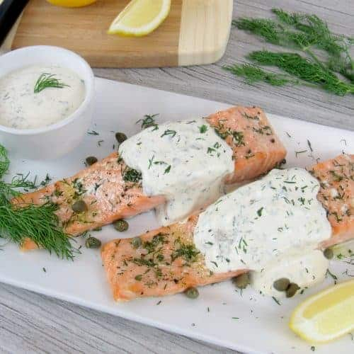 Baked Salmon with Creamy Dill Sauce - Keto and Low Carb
